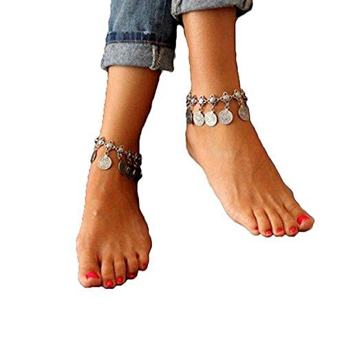 Tinksky Pulsera para el tobillo pulsera Vintage moneda borla Bohemia mujeres joyas de decoración, regalo para las niñas de las mujeres
