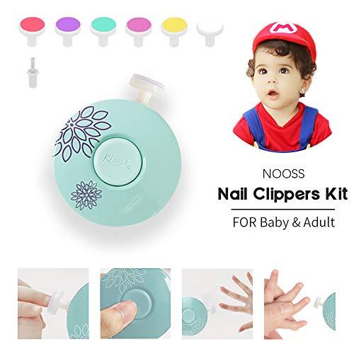 Baby Nagelklipser,NOOSS 6-in-1 Elektrische tragbares Baby Nagelfeile mit,für Neugeborene,Kleinkind,Erwachsene Batteriebetrieben Sichere Baby Nagelpflege … (Blue)