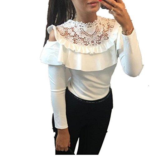 Longra Damen Sexy Bluse Elegante Blusen Spitzenbluse Weißes Hemd Damenmode Kleider Damen Schulterfreie Oberteile Festliche Tunika Blusenshirt Langarmshirt Tops (White, L) (T-shirt Klassisches Weiß Ärmelloses)