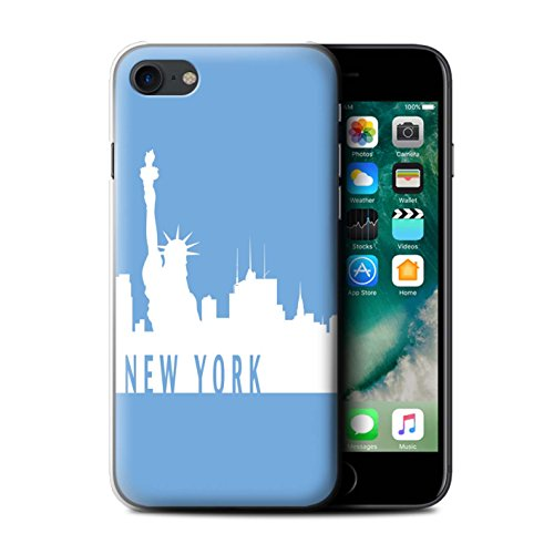 Stuff4 Hülle / Case für Apple iPhone 7 / London/Orange Muster / Stadt Skyline Kollektion New York/Blau