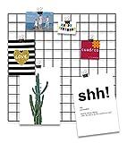 Design-Wandgitter 'Black Beauty' zum Aufhängen | Moodboard | Gitterwand | Dekogitter | Draht | Netz | Rack | Mesh | Memo Board | Wandhalterung | Fotowand, Größe:60x60 cm, Farbe:Schwarz