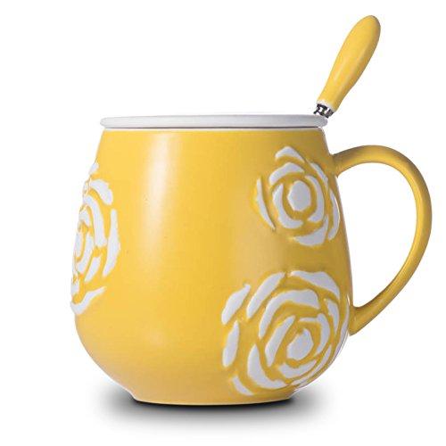 Btftkjbf Les Étudiantes Coréennes Tasse Tasse en Céramique Créative avec Cover Girl À La Tendance De Famille Tasse Tasse De Café Blanc Jaune Vif,