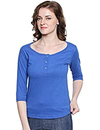 The Dry State Women's Blue Melange Henley 3/4 Sleeves Tshirt