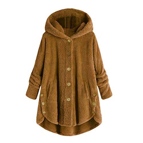 Bluelucon Damen Mantel Warmer Wollmantel Teddyfell Jacke künstlicher Oversized Kapuzenpullover Wintermantel Elegant Softshell Outwear Pelzmantel