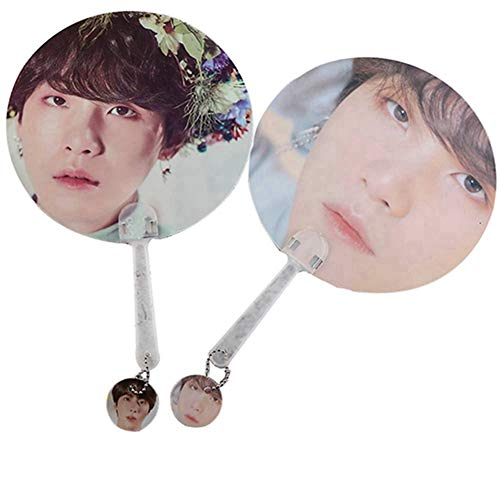 GOTH Perhk Kpop BTS Bangtan Boys Speak Yourself Tragbare Mini Hand Fan Doppelseitig Gemusterte PVC Fan Sommer 1 STÜCKE(SUGA) - Leichter Goth