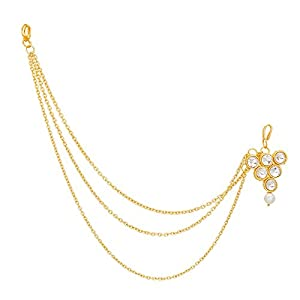 The Luxor Designer One Side Traditional Gold Plated Pearls Mathapatti Mang tikka For Women(MGT6003)