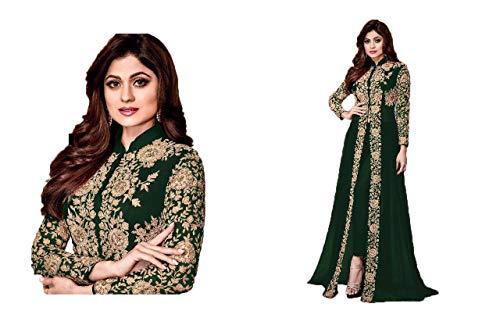 Mahantam Designer Women\'s Embroidered Worked Georgette Anarkali Salwar Suit (PYS351ST26502, Green, Free Size)