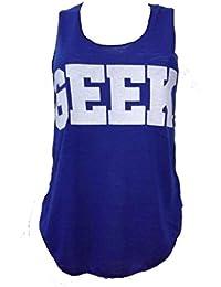 Mix lot nouveau dames néon connaisseur geek impression sweat-shirt gilet sans manche top femmes d'été de gilet taille (36-38, gilet bleu royal)