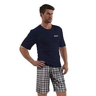 e.VIP® Herren Schlafanzug Chris S 325A Kurzarm Kurze Hose Reine Baumwolle in Farbe Marine kariert in Größe XXL