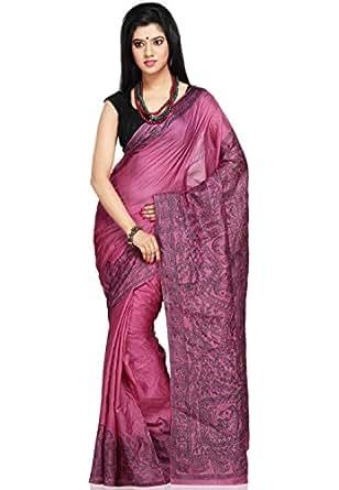 Utsav Fashion Women's Magenta Pure Tussar Silk Saree with Blouse