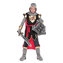 amscan 10132334 Knight Crusader Costume with matching hood and red cape - Age 4-6 Years - 1 PC