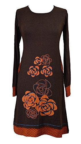 Longue robe à manches longues avec broderie de fleurs et une poche latérale Marron