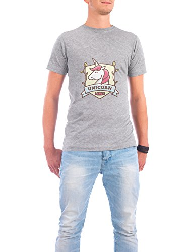 "Design T-Shirt Männer Continental Cotton ""Unicorn Emblem"" - stylisches Shirt Tiere Fiktion von artboxONE Edition Grau"