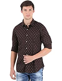 Brown Printed Full Sleeve Casual Shirt
