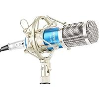 Neewer NW-800 Micrófono kit,(1)NW-800 Micrófono de Condensador Profesional+(1)Micrófono Montaje de Choque+(1)Casquillo Tipo de Bola de Espuma Anti-viento+(1)Cable de Alimentación de Micrófono(Azul)
