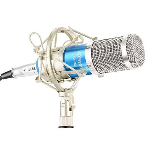 Neewer NW800 Kondensator Mikrofon und NW35 Ausleger Scherenarm Ständer mit XLR Kabel und Befestigungsschelle und NW3 Pop Filter und 48V Phantomspeisung mit Adapter Set (Blau) (Kondensator-mikrofon Xlr)