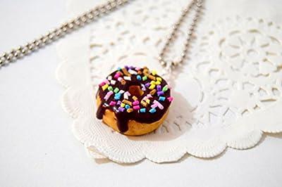 PASSIONNELLA - Collier pendentif donuts chocolat Fimo, cadeau gourmand, bijoux gourmand, bijoux en fimo