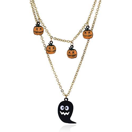 Delicate girl Elementos Populares Labios Calabaza Fantasma Cabeza Largo Collar De Moda Joyería De Halloween, Q