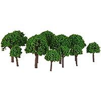 50pcs 1/500 Árboles Artificial Modelo de Tren Paisaje Plástico Verde Claro 3cm