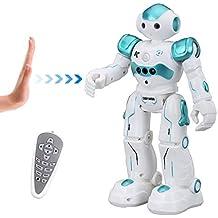Virhuck R2 Ferngesteuerter Roboter, Intelligente Programmierung Geste Sensing RC Robot Kit, Tanzen Singen Walking RC Spielzeug für Kinder Unterhaltung, 500mAh, USB Laden - Blau, Pink, Grau