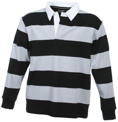 Herren Langarm Polo Shirt aus Heavy-Jersey im Rugby-Style black/grey-heather