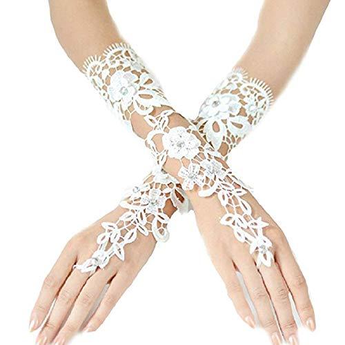 Queta Bridal Handschuhe aus Spitze Brautkleid Handschuhe Neue Ausschnitt Diamant Luxus Spitzen...