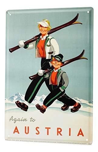 Blechschild Welt Reise Österreich Skigebiet Frau Junge Ski Wand Deko Schild 20X30 cm