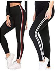 Fitg18® Gym wear Leggings Ankle Length Free Size Combo Workout Trousers | Stretchable Striped Jeggings | Yoga Track Pants for Girls & Women (Black)(Pack of 2) (RED, Free Size)