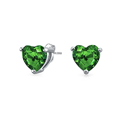 Bling Jewelry Simulated Emerald CZ Heart Shaped Sterling Silver Stud Earrings