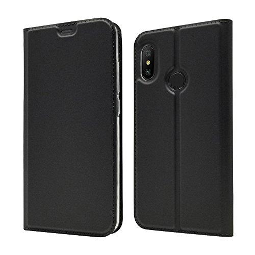 LAGUI Funda Xiaomi Mi A2 Lite, Ultrafina Carcasa Minimalista Tipo Libro con Tapa Imantada y Ranura para Tarjeta y Soporte Horizontal, gris oscuro