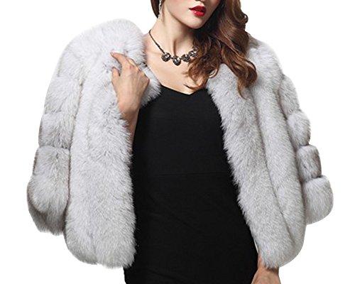 Damen Jacke Faux Pelz Warm Kunstfur Langarm Jacket Kurz Mantel Felljacke Tops Fox Farbe M (Damen Pelz Jacke)