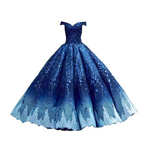 Vestido sin Tirantes de la Boda de Las Mujeres Vestido de Novia Bordado Longitud del Piso Vestido de Noche Tutu (Color : Blue, tamaño : S)
