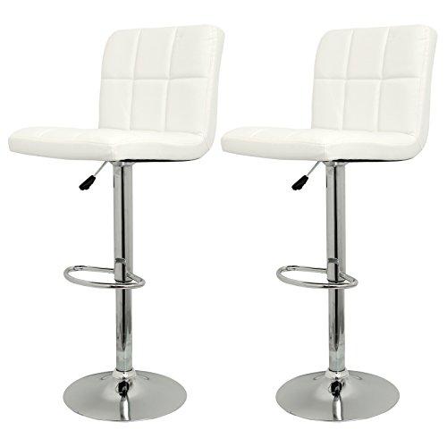 AllRight 2er Set Barhocker Barstuhl Tresenhocker mit Lehne Stuhl drehbar Chrom Lounge 2 Weiß