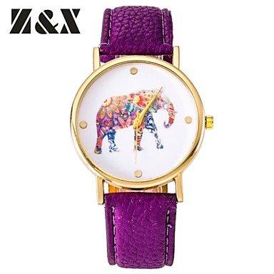 XKC-watches Relojes de Mujer, Moda Mujer Diamante Precioso Colorido Elefante Cuarzo analógico Reloj de Pulsera de Cuero (Colores Surtidos), Rojo