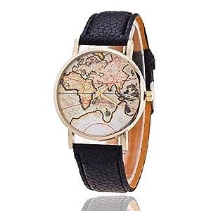 Reloj unisex estilo de mapa mundial / vendimia mapa del mundo / mapa del mundo antiguo / reloj de señoras / las mujeres de imitación de
