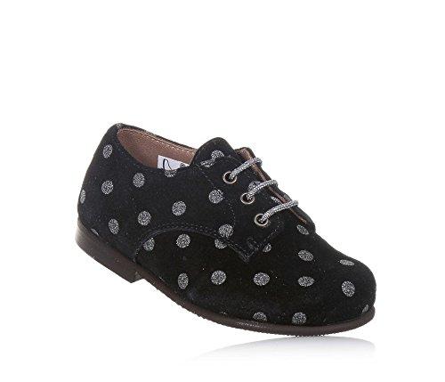 PÈPÈ - Chaussure à lacets noire en suède avec motif à pois argent, made in Italy, Fille, Filles-27