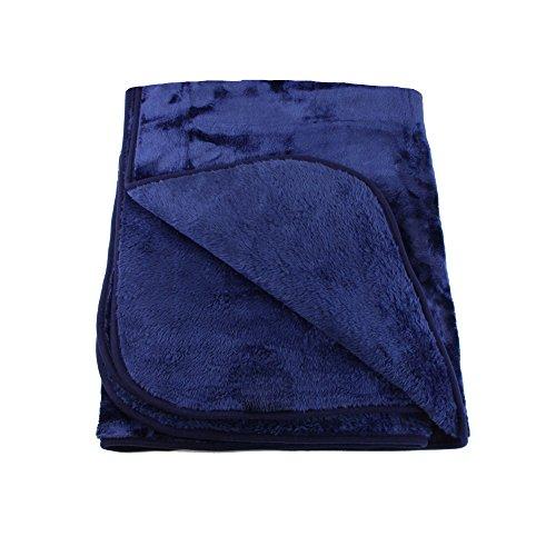 Amago 40024-05-2040 - Telo arredo/ Copriletto matrimoniale/ Copridivano in microfibra effetto cachemire, XXL, 220 x 240 cm, colore: Blu marino