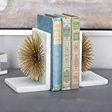 Trend Setter-Gold Starburst Decorative Marble Metal Bookends for Home/Office Decor/Gifting and Shelves.