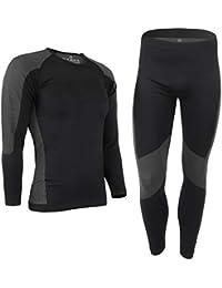 ALPIDEX Set de Ropa Térmica para Hombre, Ropa Interior para esquí - Transpirable, cálida y de Secado rápido, Tamaño:l/XL, Color:Black-Grey