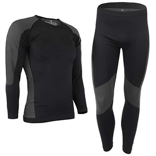 ALPIDEX Herren Funktionswäsche Thermounterwäsche Skiunterwäsche - atmungsaktiv, wärmend und schnell trocknend, Größe:L/XL, Farbe:Black-Grey