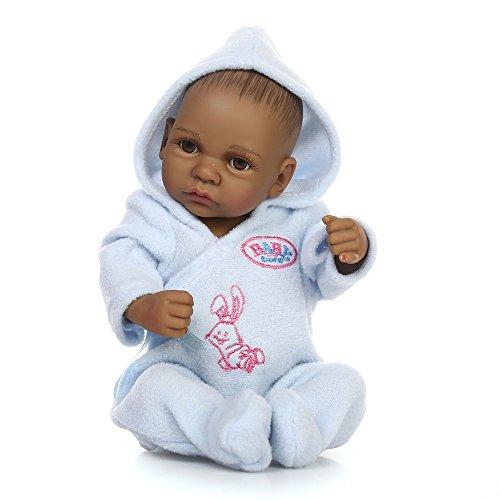Erduo 10 Zoll schwarz lebensechte Baby Boys Jungen vollen Körper Silikon Black Boy Reborn Baby Puppe Beste Geburtstagsgeschenk (Black Boy Baby Doll)
