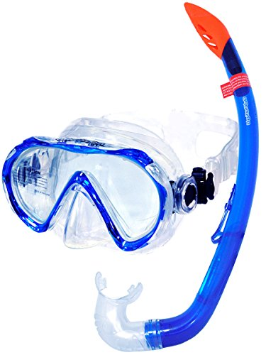 AQUAZON Korfu Hochwertiges Schnorchelset, Tauchset, Schwimmset, Schnorchelbrille mit Tempered Glas, Schnorchel mit semi Dry top für Kinder, Jugendliche Von 7-14 Jahren, Colour:Blue