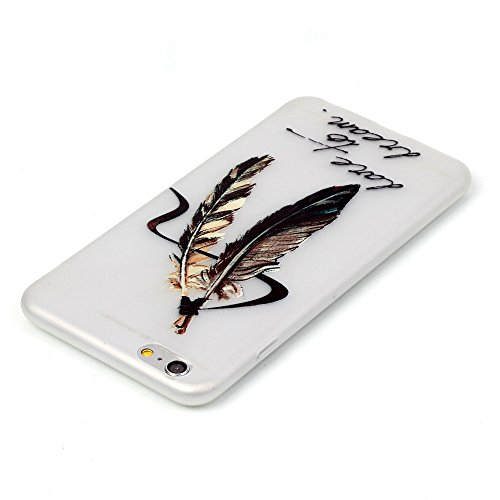 ISAKEN Custodia iPhone 6 Plus - Cover iPhone 6S Plus - Fashion Agganciabile Luminosa Cover Case con LED Lampeggiante per Apple iPhone 6(5.5) Ultra Slim Sottile TPU Cover Rigida Gel Silicone Protettiv dare to dream piuma