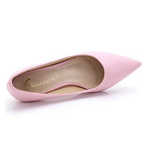 AalarDom Femme Couleur Unie à Talon Correct Tire Pointu Chaussures Légeres Rose-Pu Cuir