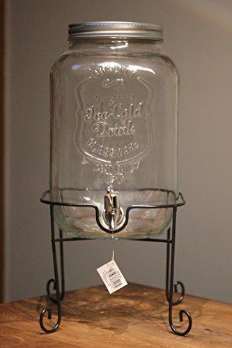 Unbekannt Getränkespender aus Glas 8 ltr. auf Standfuß aus Metall