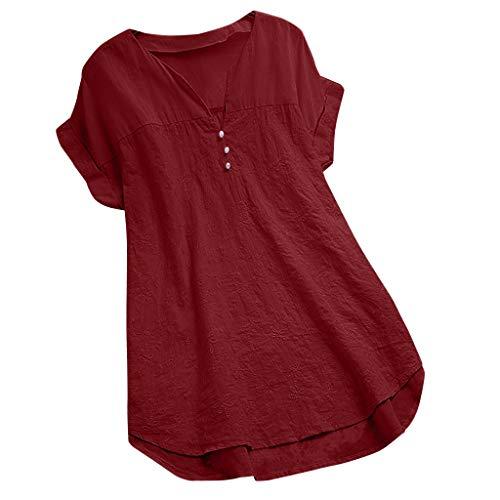 Lose Mode BeiläUfig Strand Atmungsaktiv Damen Lose Leinen Soild Taste Lange Splice Spitze V-Ausschnitt Freizeithemd Bluse Tops ()