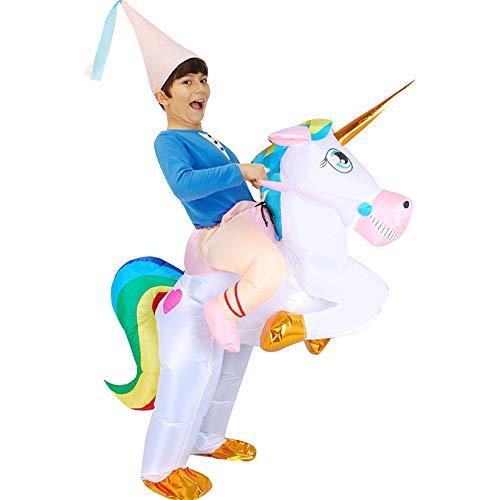 Aufblasbares Einhorn-Kostüm mit Hut für Erwachsene, Kind, Halloween, aufblasbar, Prinzessin, Magisches Pferd, Kostüm, Cosplay Party Child (Magische Einhorn Für Erwachsene Kostüm)