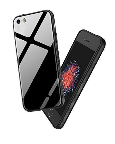 PRO-ELEC Gehärtetes Glas Rückseite und TPU Rahmen Kompatibel mit iPhone 5 Hülle, Phone SE Hülle Stoßdämpfend Kratzfest Handyhülle, Schwarz - Gehäuse 5 Iphone Rückseite