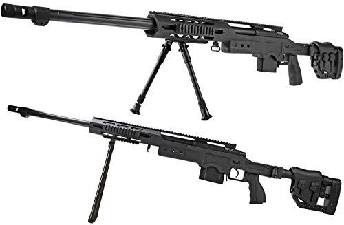 Vollmetall Sniper Federdruck schwarz Softair-Gewehr XXL Set inkl. Speedloader, Dreibein, Tragegurt ca. 98 cm - 128,5 cm ca. 4130 g unter 0,5 Joule ab 14 Jahre (Paintball-gewehr-gewehr)
