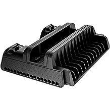 MoKo PS4 Base de Refrigeración - Ultra Slim / Multifunción Cooling Stand con 3 Cooling Ventiladores & 2 Puertos de Carga para PS4 / PS4 Slim / PS4 Pro, Negro